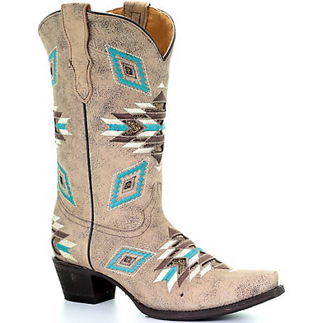 Corral Youth Distressed Brown Aztec Pattern Boot