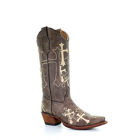 Corral Women's Big Embroidered Side 3 Cross Sniptoe Boot
