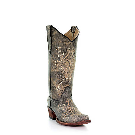 Corral Women's Black Crackle/Bone Embroidery Boot