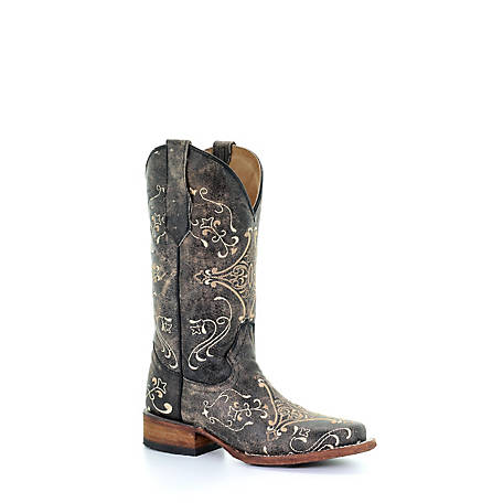 Corral Women's Crackled Embroidered Print Square Toe Boot