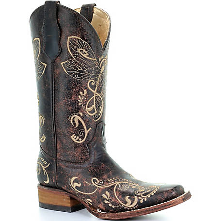 Corral Women's Distressed Brown-Bone Dragonfly Embroidery Square Toe Boot
