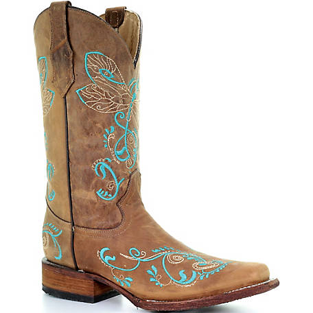 Corral Women's Tan/Turquoise Dragonfly Embroidery Square Toe Boot