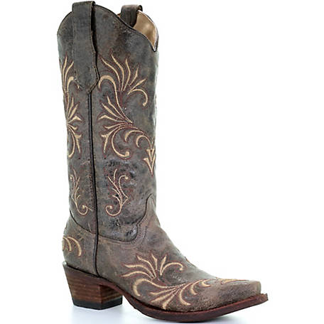 Corral Women's Distressed Green/Golden Filigree Boot