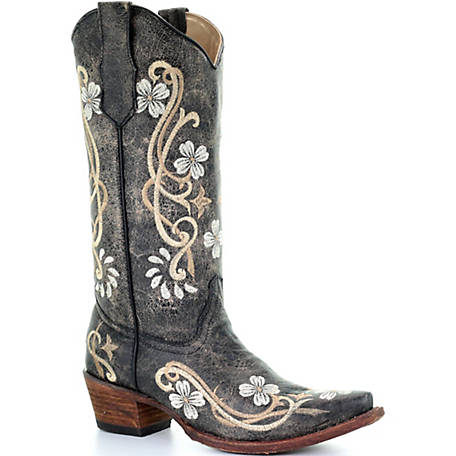 Corral Women's Black Multicolor Floral Embroidery Boot