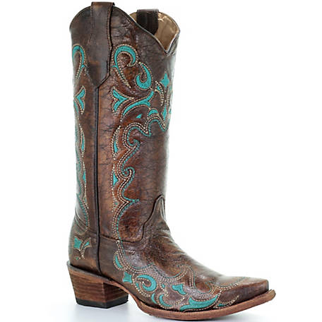 Corral Women's Brown/Turquoise Side Embroidery Boot