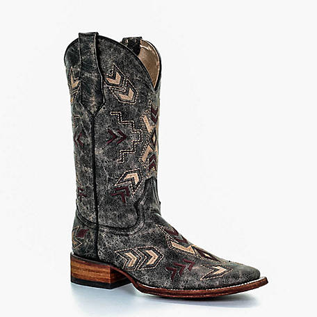 Corral Women's Distressed with Crackle Embroidered Arrowhead Square Toe Boot, L5253