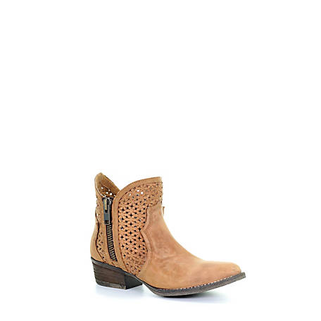 Corral Women's Cutout  with Zippered Round Toe Boot, Q0002