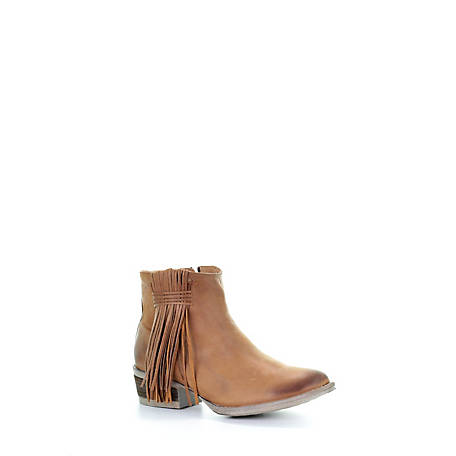 Corral Women's with Side Fringe Shortie Round Toe Boot, Q0007