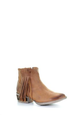 Corral Ladies Round Toe Tan Side Fringe Shortie Western Ankle Boots Q0007