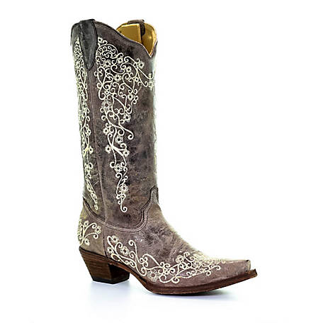 Corral Women's Corral Women's Wedding Big Floral Embroidered Snip Toe Boot, A1094