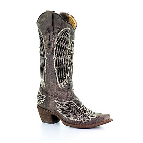 Corral Women's Corral Women's Heart and Wing Inlays Snip Toe Boot, A1241