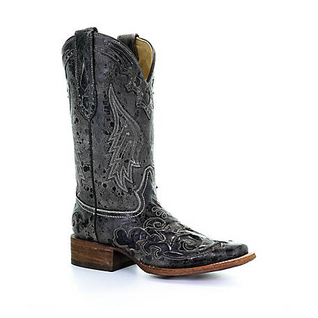 Corral Women's Corral Women's Vint with Black Python Inlay Square Toe Boot, A2402