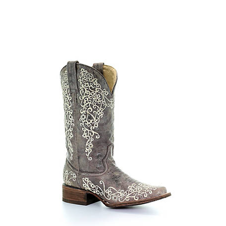 Corral Women's Weddng Big Floral Embroidered Square Toe Boot, A2663
