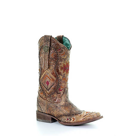 Corral Women's Cognac Multi-Aztec Print Square Toe Boot