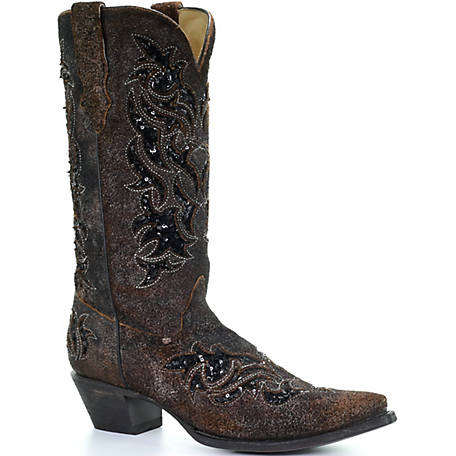 Corral Women's Black/Black Sequence Inlay Boot