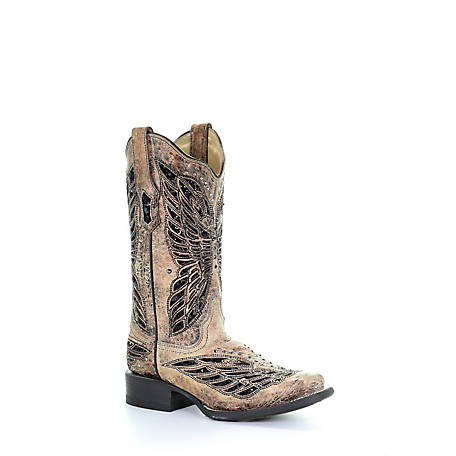 Corral Women's Square Toe Boot with Black Crystal Butterfly