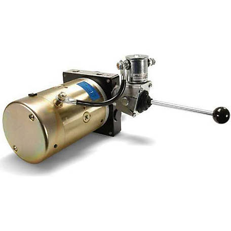 SPX Hydraulic Power Unit (12V DC, Single Acting), 1.6 GPM, 3/8 in. NPT Ports, 2500 PSI, 3 qt. Poly Tank, Lever Operated