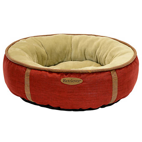 Retriever 27 in. Faux Leather Round Pet Bed