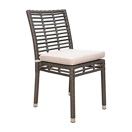 Panama Jack Graphite Stackable Side Chair with Cushion