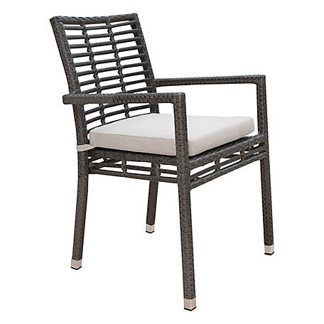 Panama Jack Graphite Stackable Arm Chair with Cushion