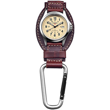 Dakota Leather Hanger Carabiner Watch, Brown