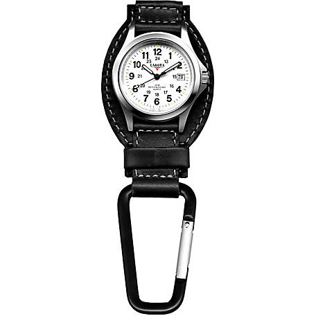 Dakota Leather Hanger Carabiner Watch, Black