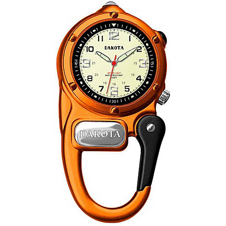 Dakota Mini Clip Microlight Carabiner Watch, Orange