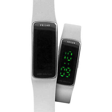 Fusion Slim Case Hidden LED Watch, White