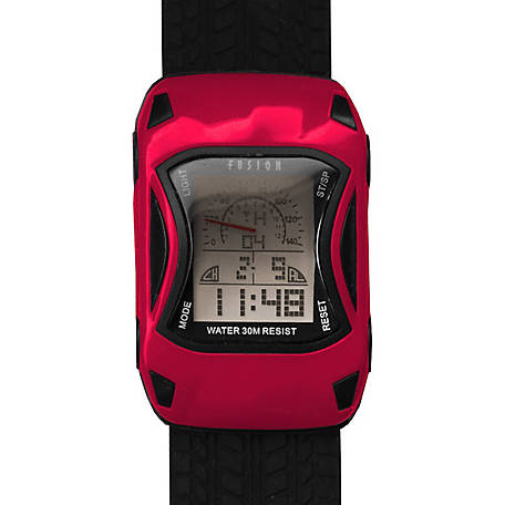 Fusion Kid's Digital Racecar Watch, Red