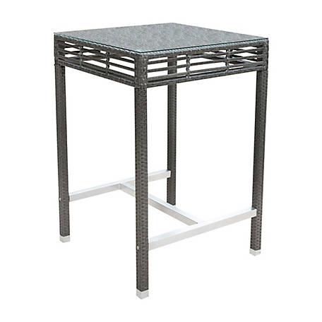Panama Jack Graphite Square Pub Table with Glass