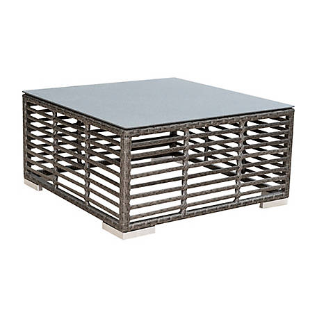 Panama Jack Graphite Square Coffee Table with glass