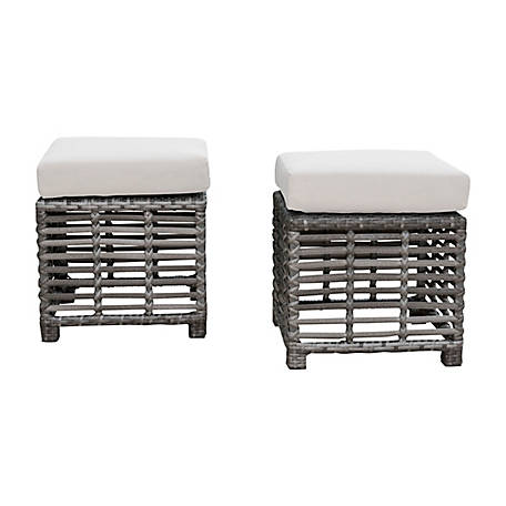 Panama Jack Graphite Set of 2 Small Ottomans with Cushions