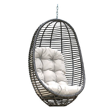 Panama Jack Graphite Woven Hanging Chair with Cushion