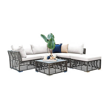 Panama Jack Graphite 6-Piece Sectional with Cushions