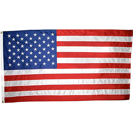 Annin American Flag with Sewn Stripes, Embroidered Stars and Brass Grommets, 5 ft. x 8 ft., Tough-Tex