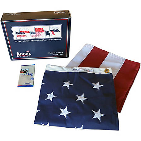 Annin American Flag with Sewn Stripes, Embroidered Stars and Brass Grommets, 3 ft. x 5 ft.