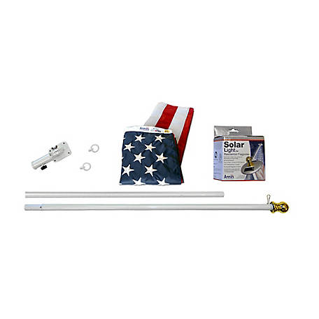 Annin American Flag and Flagpole Set with 6 ft. Aluminum Spinner Pole