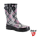 Western Chief Women's Plaid Mid Charcoal Rain Boot