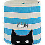 Territory Canvas Storage Bin with Cat & Teal Stripes