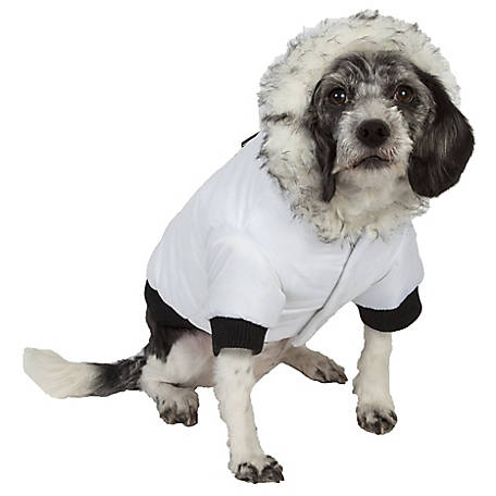 Pet Life Aspen Winter-White Fashion Pet Parka Coat