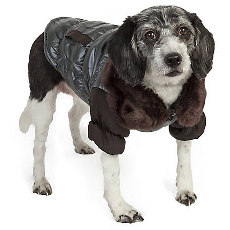 Pet Life Ultra Fur Track-Collared Metallic Pet Jacket