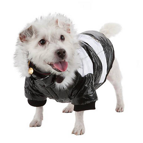 Pet Life Fashion Striped Ultra-Plush Pet Parka Coat