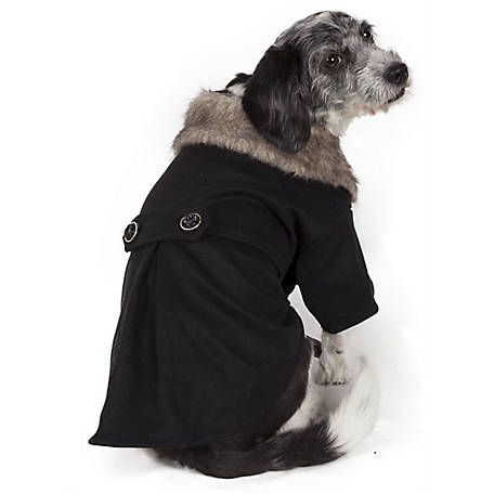 Pet Life Buttoned Coast-Guard Fashion Faux-Fur Collared Wool Pet Coat