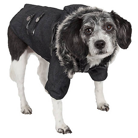 Pet Life Ruff-Choppered Denim Fashioned Wool Pet Coat