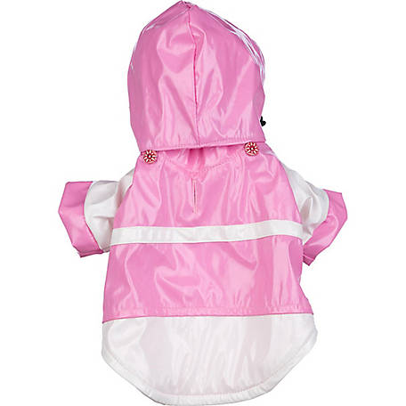 Pet Life 2-Tone PVC Waterproof Adjustable Pet Raincoat,Pink and White
