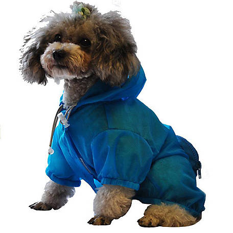 Pet Life The Ultimate Waterproof Thunder-Paw Adjustable Zippered Folding Travel Dog Raincoat