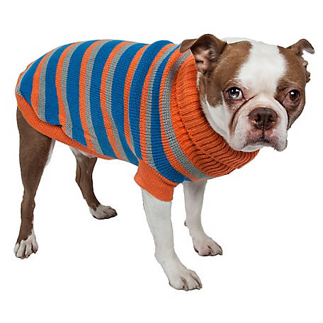 Pet Life Heavy Cable Knit Striped Fashion Polo Dog Sweater