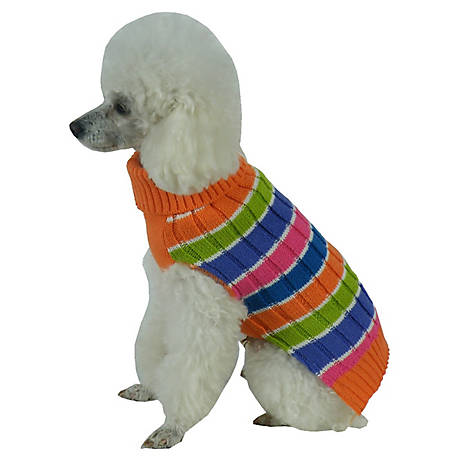 Pet Life Tutti-Beauty Rainbow Heavy Cable Knitted Ribbed Designer Turtle Neck Dog Sweater