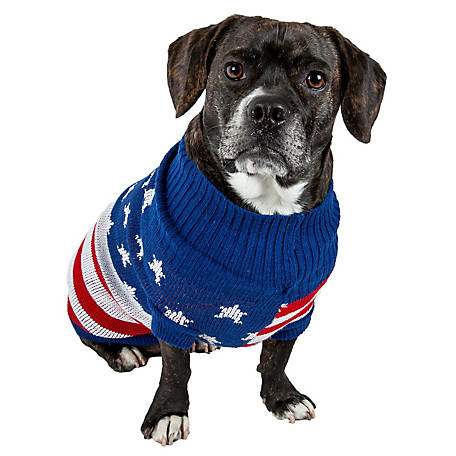 Pet Life Patriot Independence Star Heavy Knitted Fashion Ribbed Turtle Neck Dog Sweater