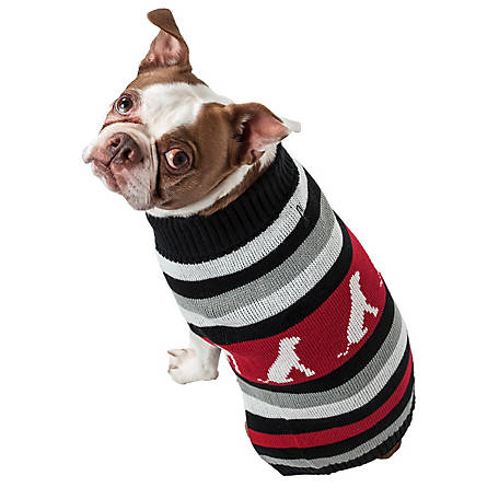 Pet Life Dog Patterned Stripe Fashion Ribbed Turtle Neck Pet Sweater